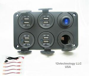 New Waterproof 12 4 Amp Dual Usb Charging Switch W Wires 12v Plug Socket