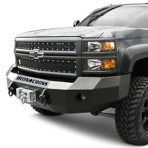 For Chevy C3500 88 98 Heavy Duty Series Full Width Black Front Winch Hd Bumper