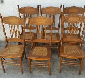 Set Of 6 Larkin 1 Dining Double Pressed Back Chairs Refinished Los Angeles Area