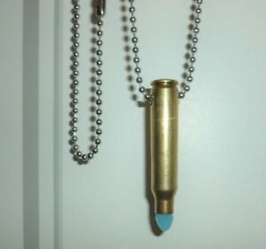 .223 Bullet shell casing Crystal Pendant Necklace Light blue