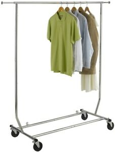 Steel Clothing Rack Storage Organizer Fold away Chromed Steel Heavy Duty Casters