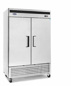New 2 Door 49cf Large Stainless Reach In Freezer W Casters Free Ship W Liftgate