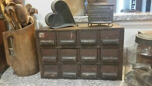Primitive Antique Spice Apothecary Chest Box Cabinet Old Attic Surface Aafa
