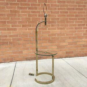 Vtg Mid Century Modern Milo Baughman Floor Lamp Glass Side Table Pace Laurel Mod