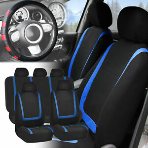 Car Seat Covers Blue Black Full Set For Auto W red Leather Steering Wheel