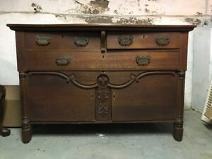 Antique Solid Oak Dresser Chest Of Drawers
