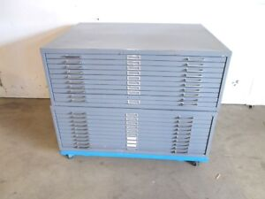 Safco Blue Print Drawing Steel File Cabinets W Rolling Base 10 Drawers