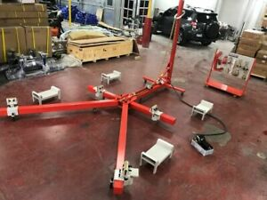 Auto Body Frame Puller Straightener Free 10 Ton Air Pump Clamps Tools Cart Set