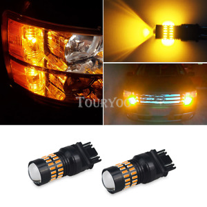 Auxito 2x Front Turn Signal Light 3457k Amber Yellow Led Bulbs Lamp For Ford