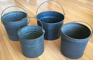 Old Vtg Antique Tin Metal Small Berry Bucket Bail Handle Pail Wire Lot Of 4