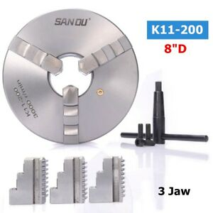3 Jaw K11 200 8 Lathe Chuck 200mm Self Centering Reversible Hardened Steel