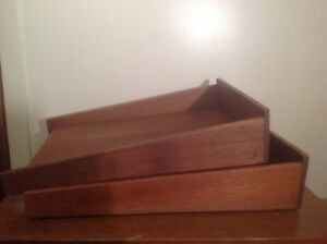 Vintage Mid Century Danish Modern Office Desk Wood Letter Paper Tray In out Box