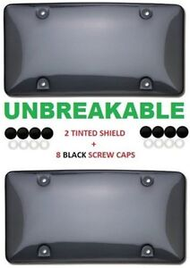 2x Tinted Clear Smoke License Plate Tag Frame Cover Shield Car Truck
