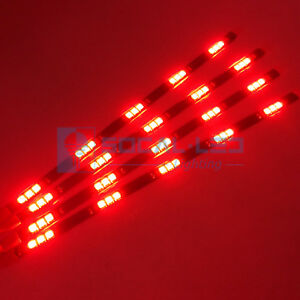 4x Red 12 Flexible Led Strips 15 Smd 5050 Interior Glow Light Waterproof 12v