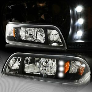 For 1987 1993 Ford Mustang 1 Piece Black Housing Headlights W Amber Reflector