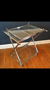 Chrome And Brass Hollywood Regency Style Cart Mid Century Modern Vintage