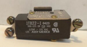 Honeywell Micro Switch 125vac 10a 1 2hp Snap action Switch P n 1tb22 1