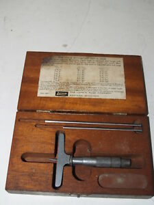 Vintage Lufkin New Style Micrometer Depth Gage 513 With Original Wood Case