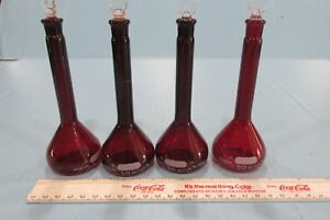4 Pyrex 50 Ml Red Ruby Volumetric Flask Lab Glass