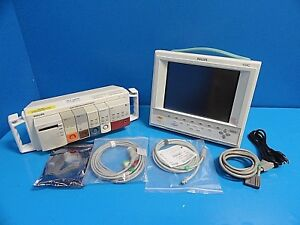 2004 Philips V24c Critical Cardiac Care Touch Screen Monitor W New Leads 14530