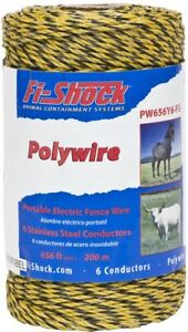 Fi shock 656 ft Electric Fence Poly Wire Lightweight Rust Resistant 6 strand