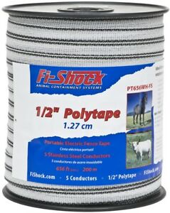 Fi shock 656 ft Electric Fence Poly Tape Wire Highly Visible To Animals Horses