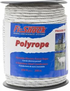 Fi shock 656 ft Electric Fence Poly Rope Wire 6 strand Conductor Lightweight