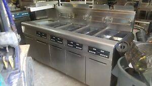 Fyrmaster 4 Bank Fryer With Filtration System nat Gas 90 Day Warranty
