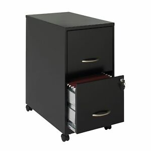 22 2 drawer Metal File Cabinet With Wheel Kit Black
