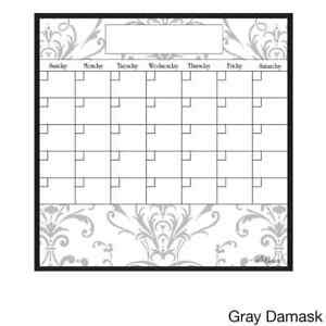 Large 15 inch X 15 inch Dry Erase Monthly Calendar Magnet Grey