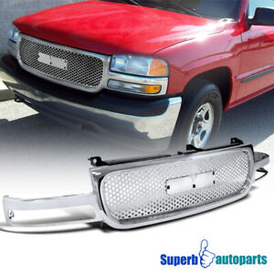 2000 2006 Gmc Sierra Yukon Xl 1500 2500 Abs Round Front Hood Grill Grille Chrome