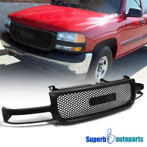 For 2000 2006 Sierra Yukon Xl 1500 2500 Abs Round Front Hood Grill Grille Black