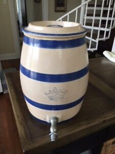Vintage 2 Blue Crown Pottery Stoneware Robinson Ransbottom Water Crock W Lid
