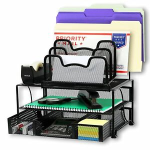 Office Desk File Letter Holder Desk File Organizer And Storage Black 5 Tray