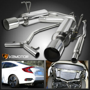 For 16 17 Honda Civic 1 5l Turbo Polished Stainless Steel Catback Exhaust System
