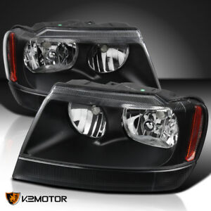 1999 2004 Jeep Grand Cherokee Black Replacement Headlights Head Lamps Left right