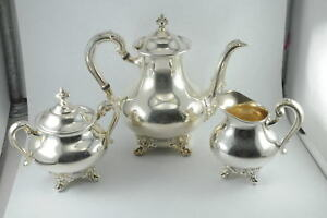 3 Piece Reed Barton Silverplate Tea Set Teapot Creamer Sugar 5600 Regent