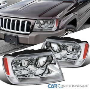 99 04 Jeep Grand Cherokee Clear Headlights Headlamps signal Corner Lamps Pair