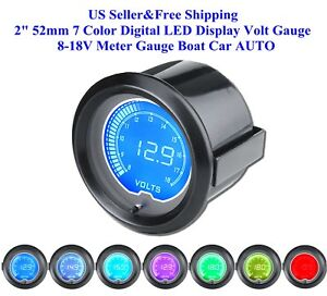 2 52mm 7 Color Digital Led Display Volt Gauge 8 18v Meter Gauge Boat Car Auto