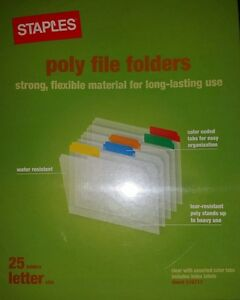 Staples Plastic Clear File Folders Letter Assorted 25 box 36056