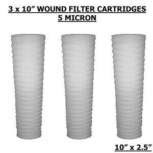 10 Pp Wound Yarn 5 Micron Sediment Water Filters Hard Ward wvo biodiesel 3pack