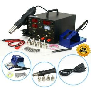 853d 3in1 110v Smd Soldering Rework Station Desolder Hot Air Gun Dc Power Supply