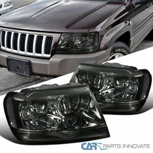 99 04 Jeep Grand Cherokee Smoke Lens Headlights Tinted Head Lamps Left right