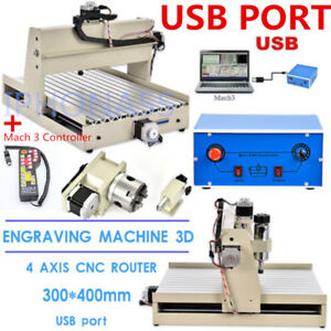 Usb 4axis Cnc Router Engraver Drilling Spindle Motor 3d 3040 mach 3 Controller