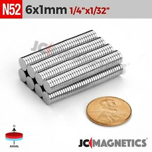 25 100 1000pcs 6mm X 1mm 1 4 x1 32 N52 Rare Earth Neodymium Small Magnet Disc