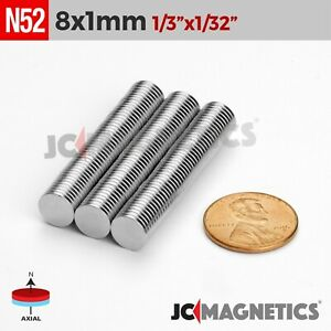 25 100 500pc 8mm X 1mm 1 3 x1 32 N52 Strong Disc Rare Earth Neodymium Magnets
