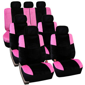 Pink Black Lush Velour 3 Row Seat Covers 4 Buckets 1 Bench