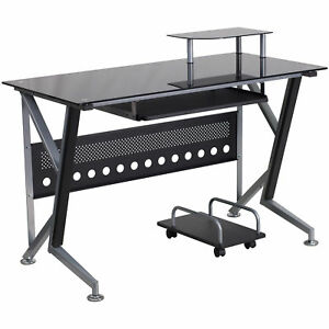 Halli Black Glass Top Computer Desk With Pull Out Keyboard Tray And Cpu Cart