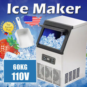 60kg 132lbs Commercial Bar Ice Maker Cube Machines Stainless Steel 270w Us Stock