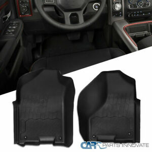 2pc 09 18 Dodge Ram 1500 Quad Cab Pickup Black Rubber Front Floor Mats Carpet